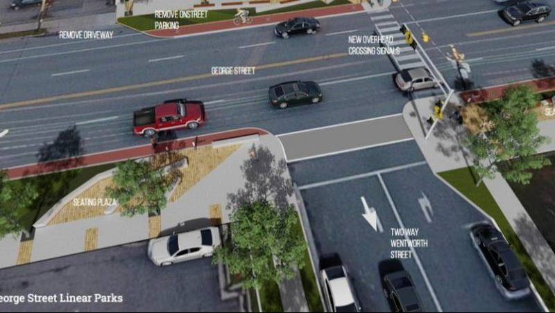 George Street in downtown Sydney would have a vibrant new look if a revitalization plan presented last month by Ekistics' is adopted.